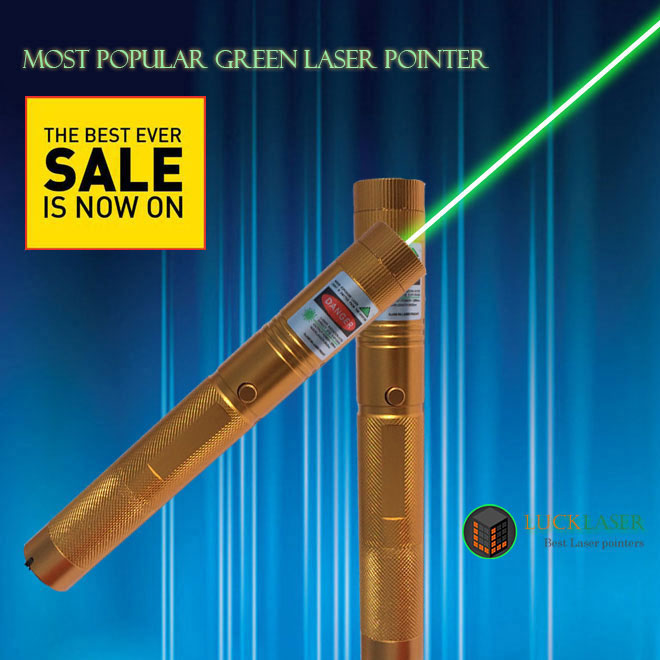 Most Popular 200mw green laser pointer golden style with Safety key
