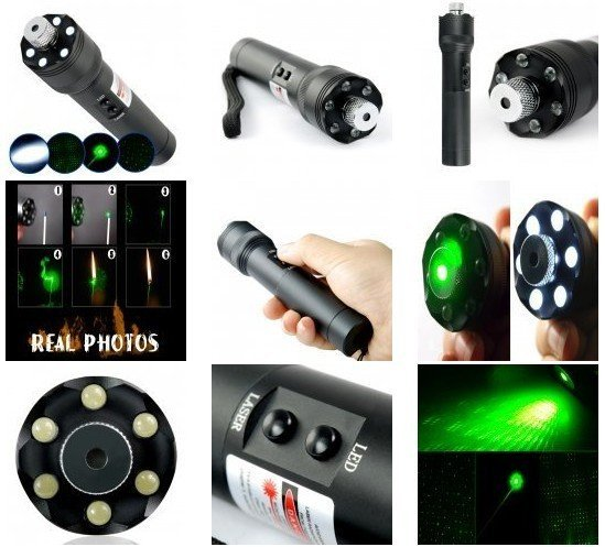 200MW green laser pointer with LED Flashlight
