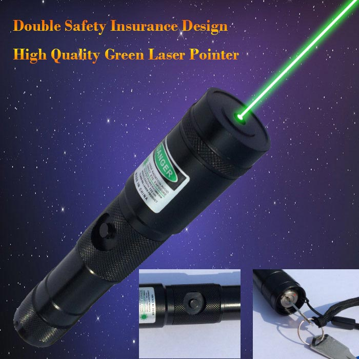 Double safety design 200mw green laser pointer with bright laser beam