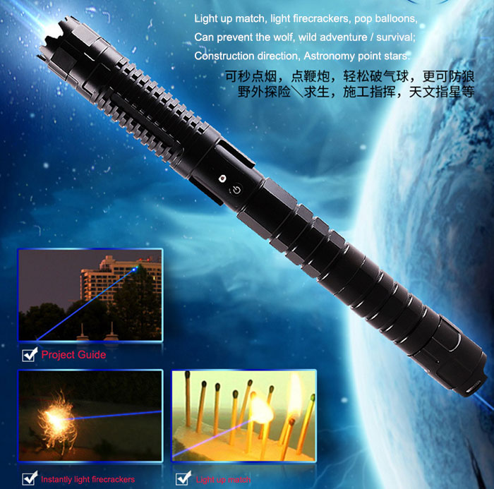 World Most Powerful Blue Laser Pointer 445nm 5000mW Focusable